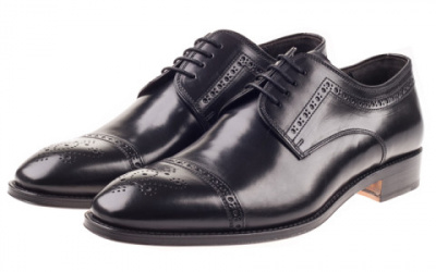 John White Charter Semi Brogue In Black