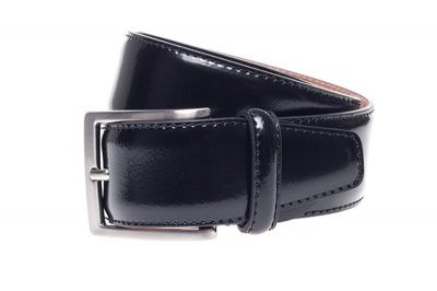 John White 35mm Belt in Black Polished Calf