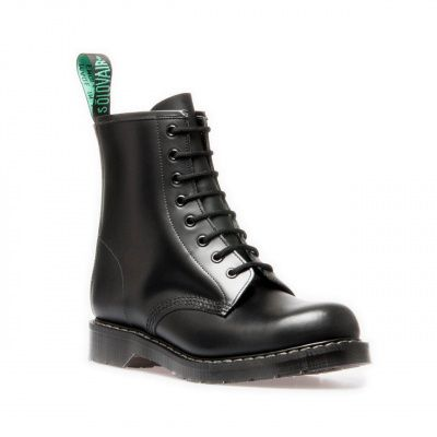 Solovair Hi-Shine 8 Eye Derby Boot in Black