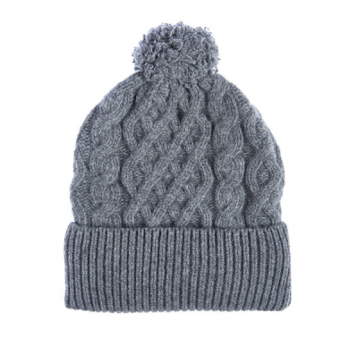 Barbour Cable Knit Beanie Hat in Gray