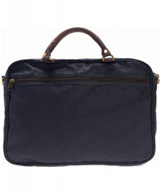 Barbour Wax and Leather Briefcase in Navy