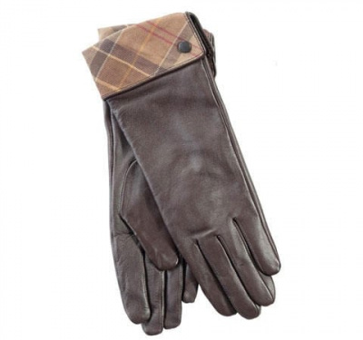 Barbour Lady Jane Tartan Leather Gloves in Brown