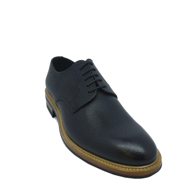 John White Dunsley Derby Shoe in Black Grain