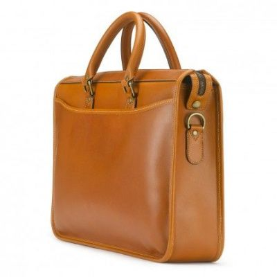 Tusting Marston Briefcase In Caramel Saddle Leather