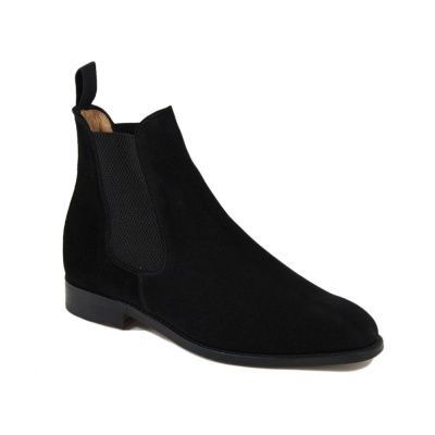 Sanders Marylebone Chelsea Boot in Black Suede