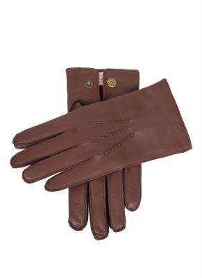 An image of men's cashmere light brown leather gloves