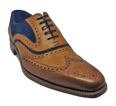 Barker McClean Brogue in Cedar Calf / Navy Suede